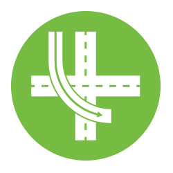 Icon of the new highway ramp design.