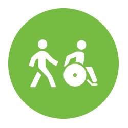 Icon of pedestrians walking and using a wheelchair.