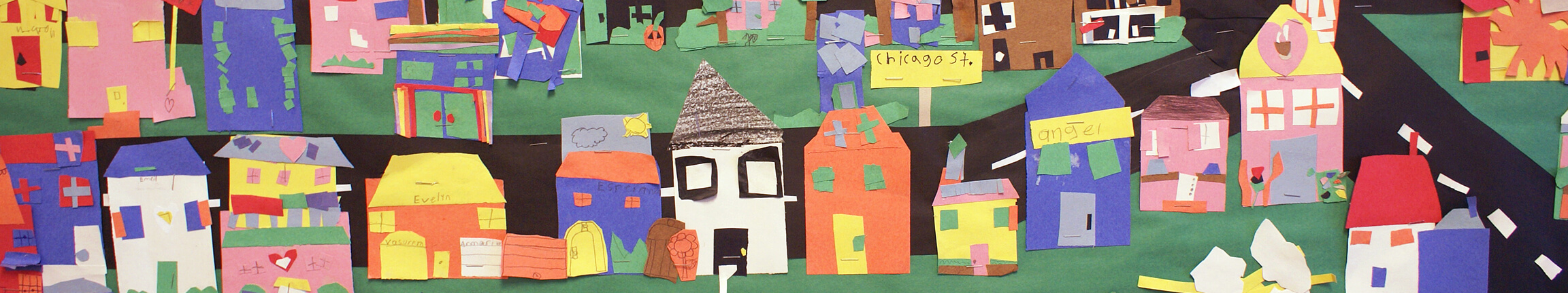 A collage of a city street, made by local students.
