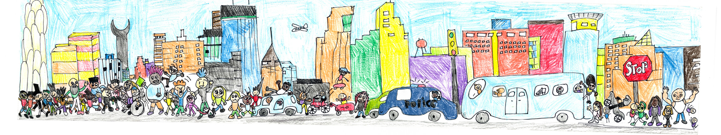 City-themed illustration by local elementary school students.