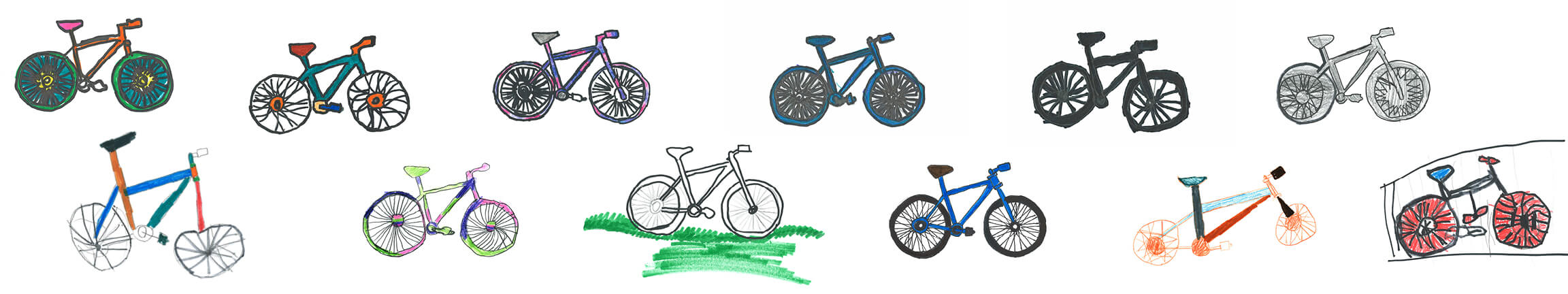 A collection of bicycles drawn by local students.