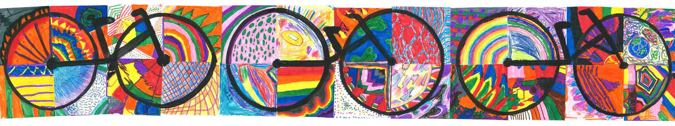 Bike-themed artwork by local elementary school students.