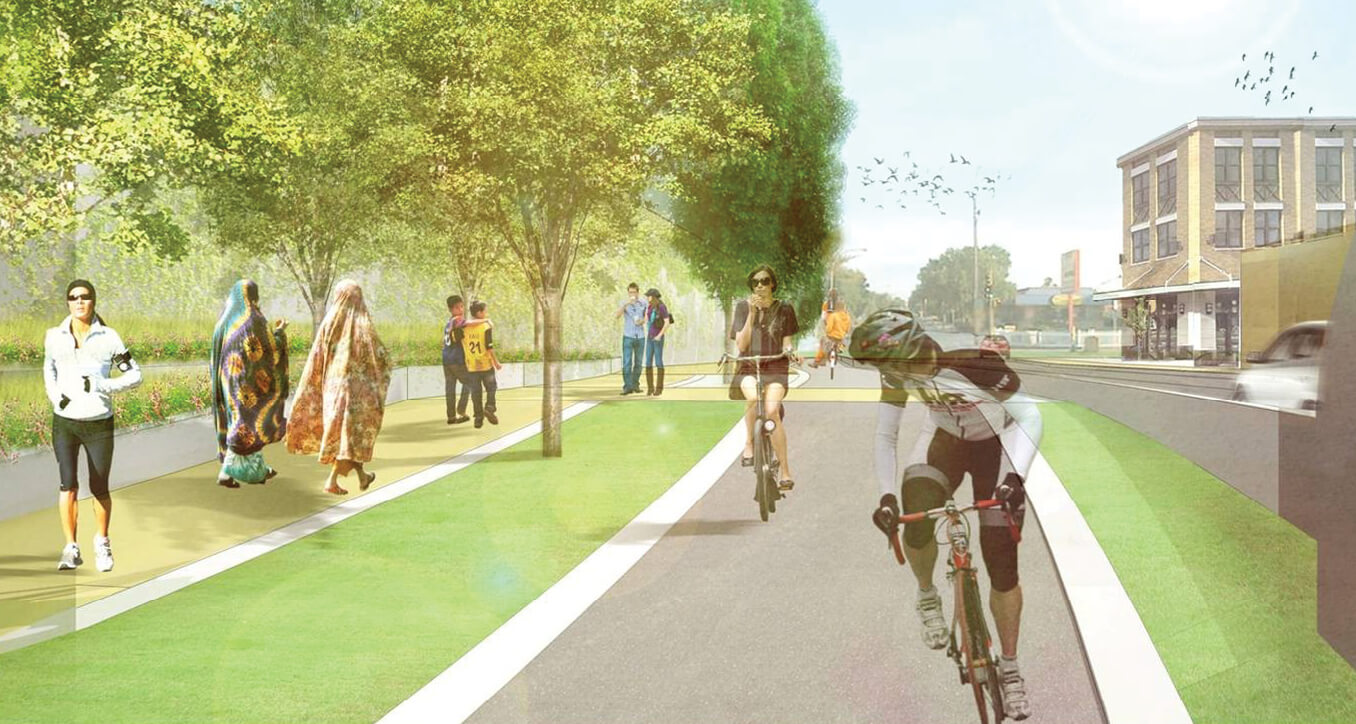 Rendered image of bicyclists enjoying the new space.