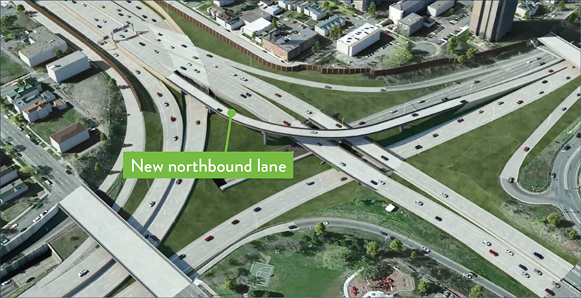 Flyover rendering of the intersection