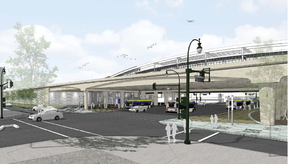 Artistic drawing of the new Lake Street Transit Station.