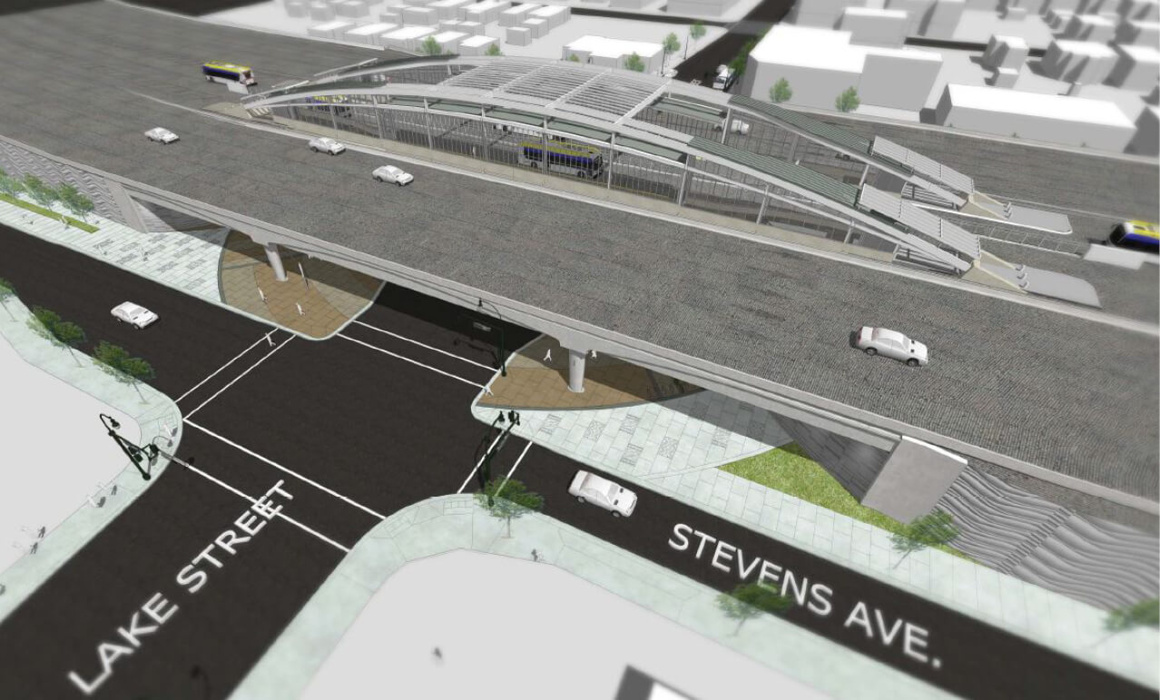 Rendered image of the new Lake Street Transit Station.