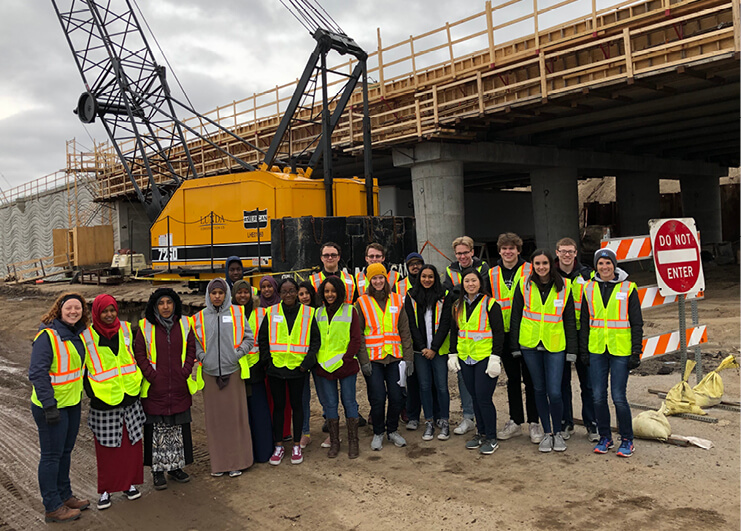 Students from a local school visiting a constuction site.