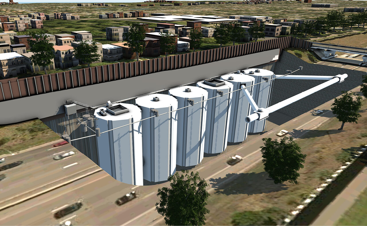Rendered image of the new water storage tanks.