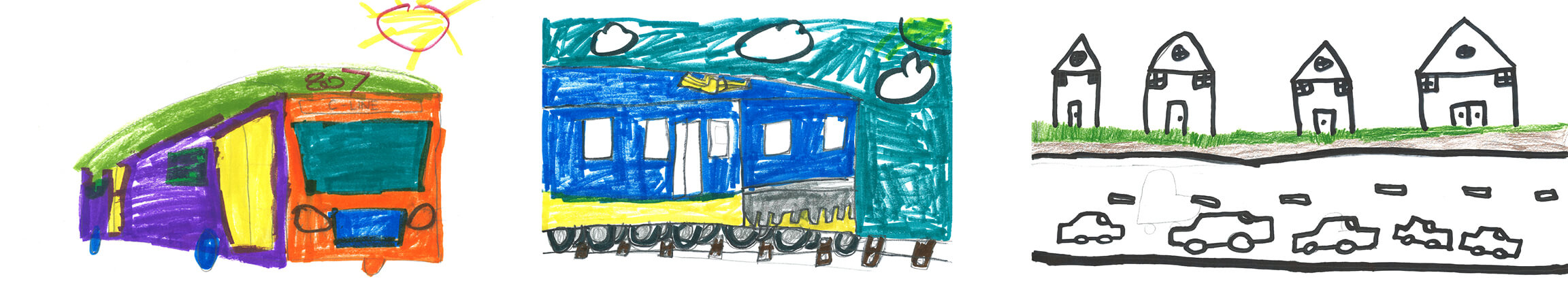 Transportation-themed artwork from local elementary school students.