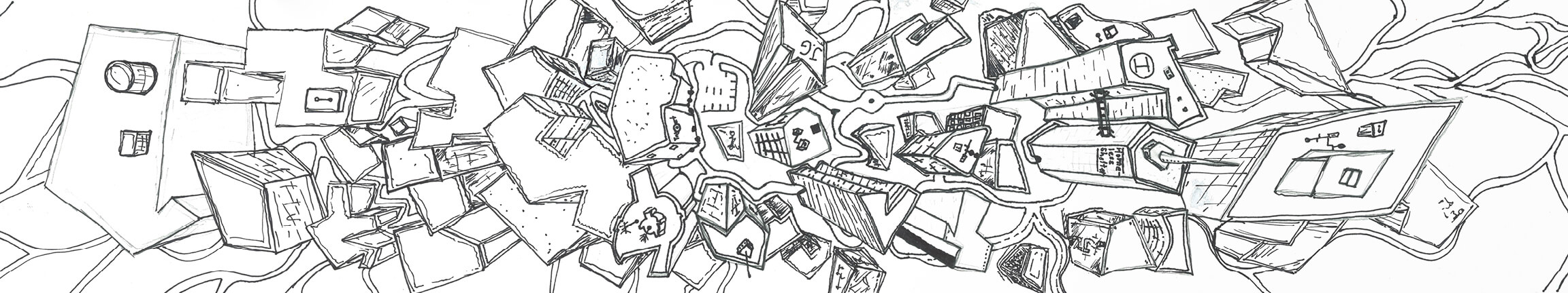 A top-down view of a city, drawn by a local student.