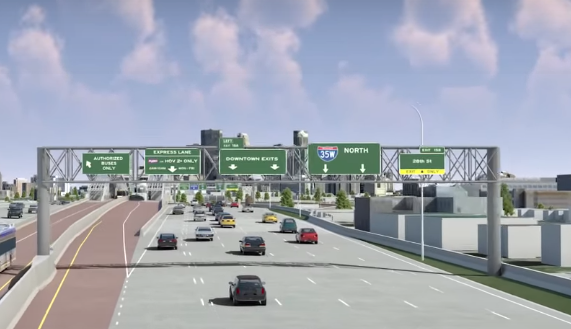Flyover rendering of the toll plaza