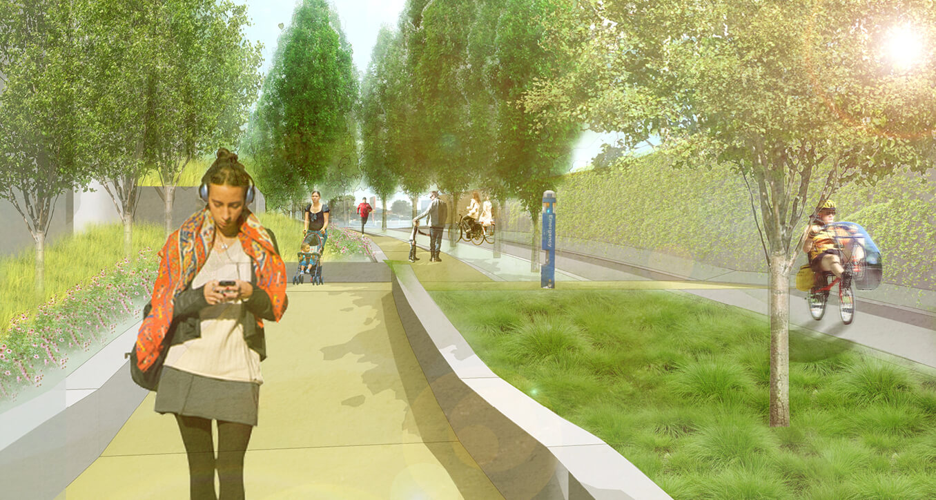 Rendered image of pedestrians enjoying the new space.