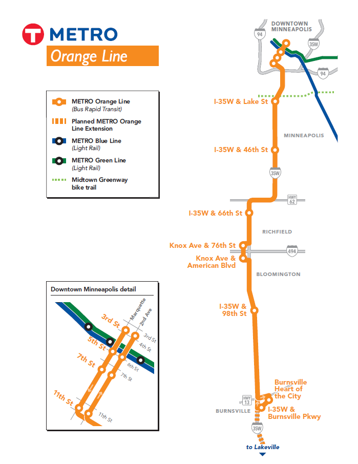 A simplified Orange Line route map